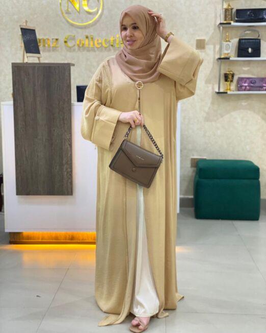 Beige harir abaya set 70$