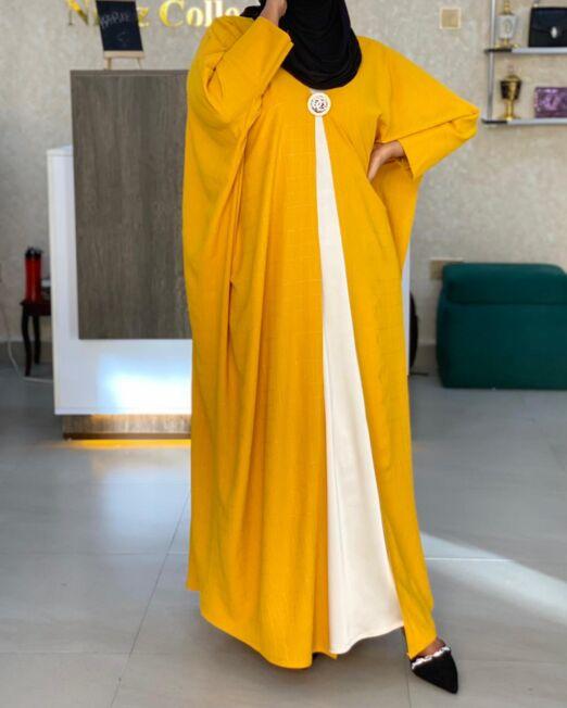 Mustard harir abaya set
