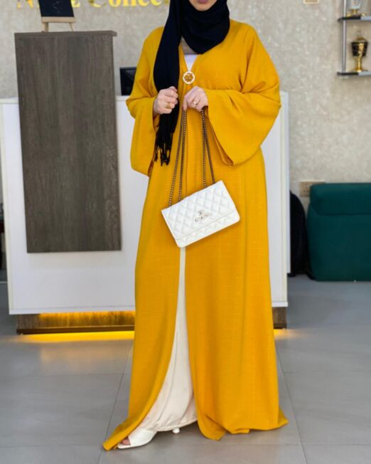 Mustard slim fit abaya set2