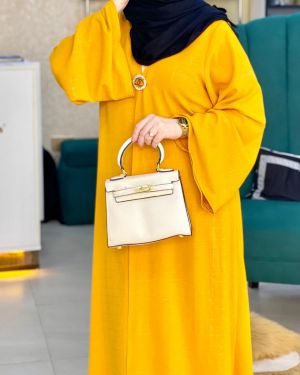 Mustard slim fit abaya