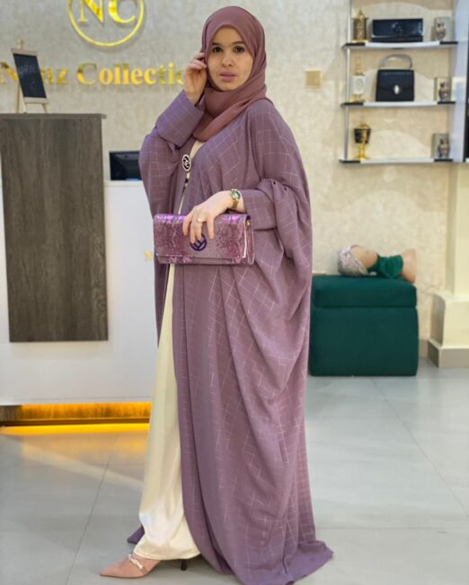 Purple harir abaya 2 set