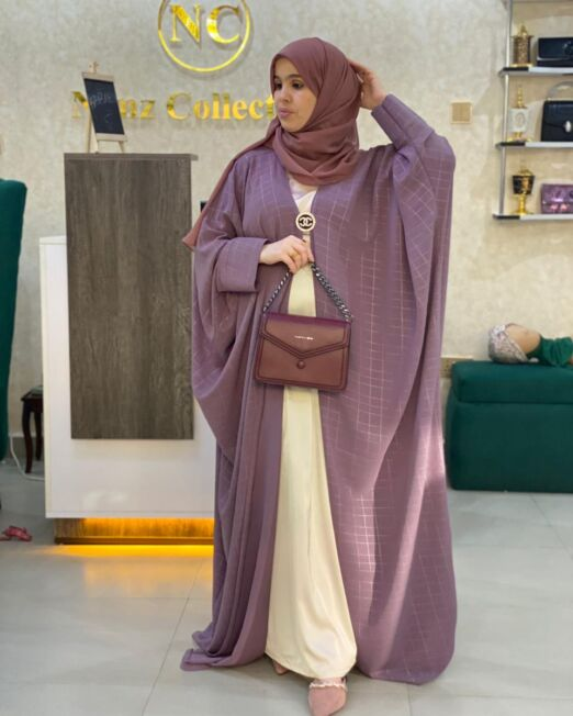 Purple harir abaya set