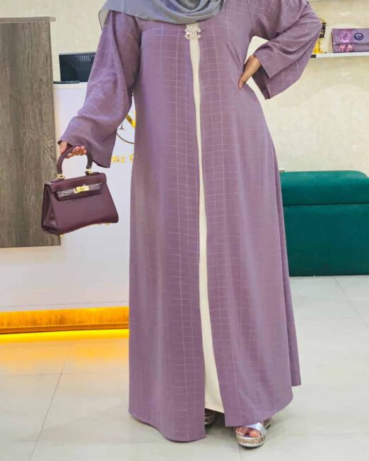 Purple slim fit abaya