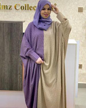Beige multicored abaya