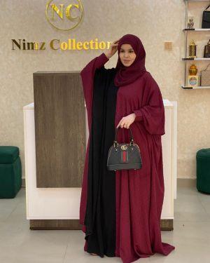 Maroon Mina multicored abaya